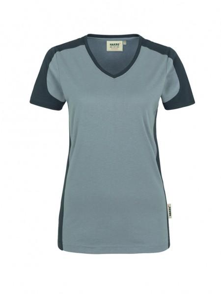 Damen-V-Shirt Contrast Performance